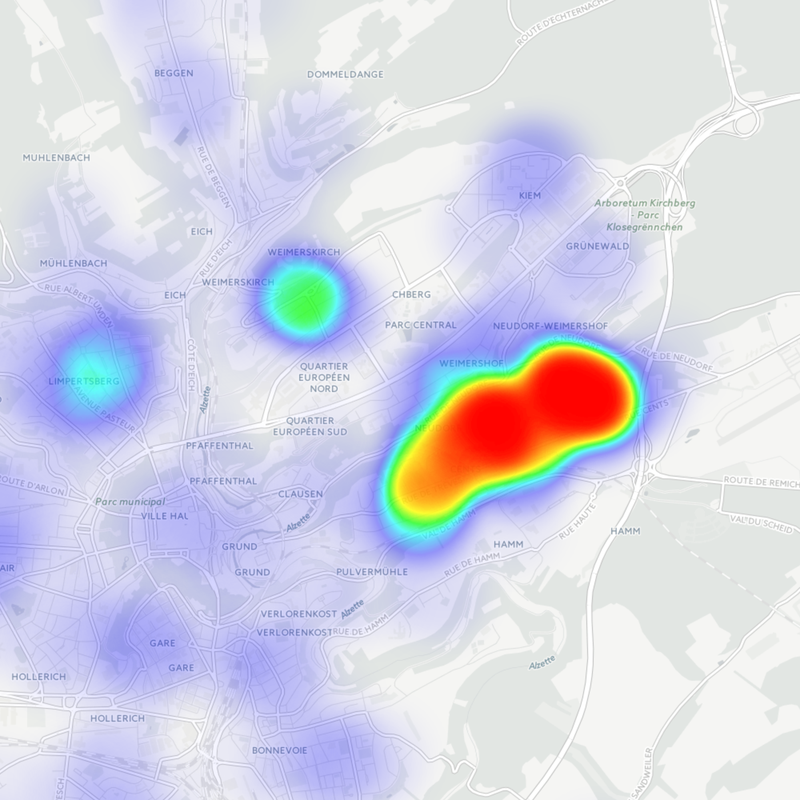 Heatmap pétition passerelle Cents – Neudorf – Kirchberg direct