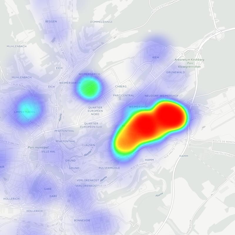 Heatmap pétition passerelle Cents – Neudorf – Kirchberg direct