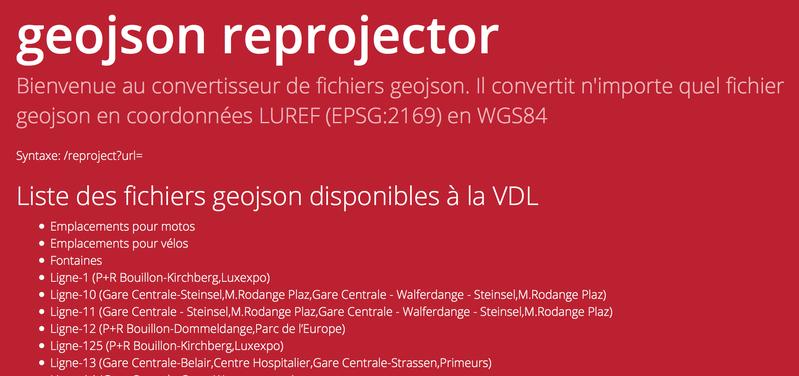 Reprojection des données geojson de la Ville de Luxembourg en WGS84